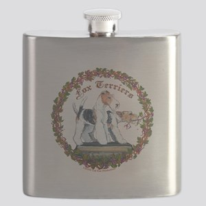 fox squre with vine newest Flask
