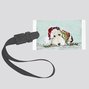 fox Santa card Large Luggage Tag