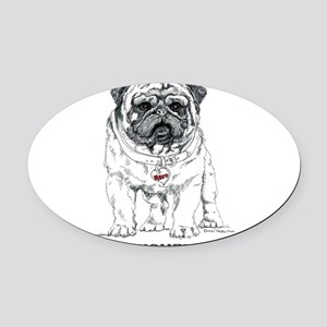 The Pugmeister Pug Oval Car Magnet