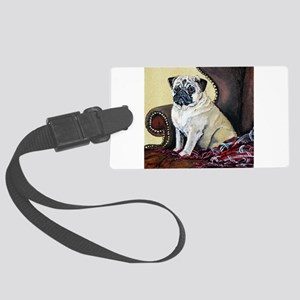 Pug old painting 7x7 Large Luggage Tag