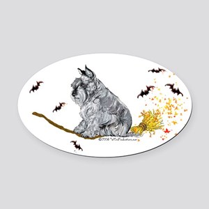 2008 schnauzer broom only 12x6 Oval Car Magnet