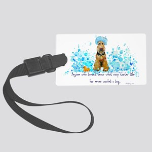 dog wash 14 x 6 Large Luggage Tag