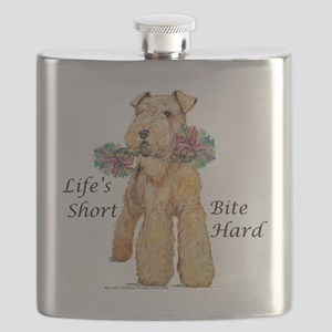 airedale10x10 bite hard - flat Flask