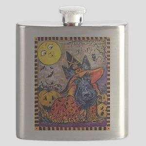 Witch Scottie Halloween Flask