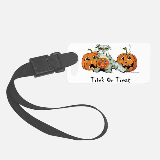 Schnauzer Halloween Pumpkins Luggage Tag