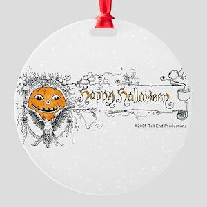 Happy Halloween Lable 8x8 Round Ornament