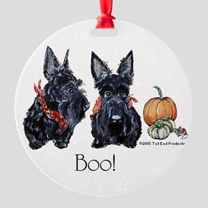 Halloween Scotties Round Ornament
