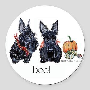 Halloween Scotties Round Car Magnet