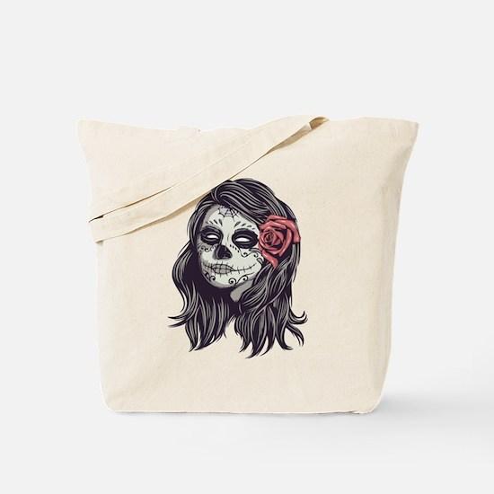 Sugar Skull Day of Dead Girl Red Rose Tote Bag