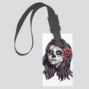 Sugar Skull Day Of Dead Girl Red Large Luggage Tag