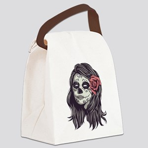 Sugar Skull Day of Dead Girl Red Rose Canvas Lunch