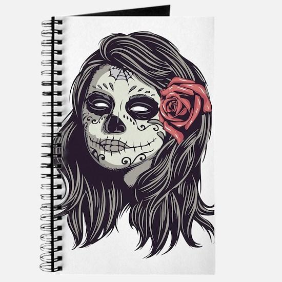 Sugar Skull Day of Dead Girl Red Rose Journal