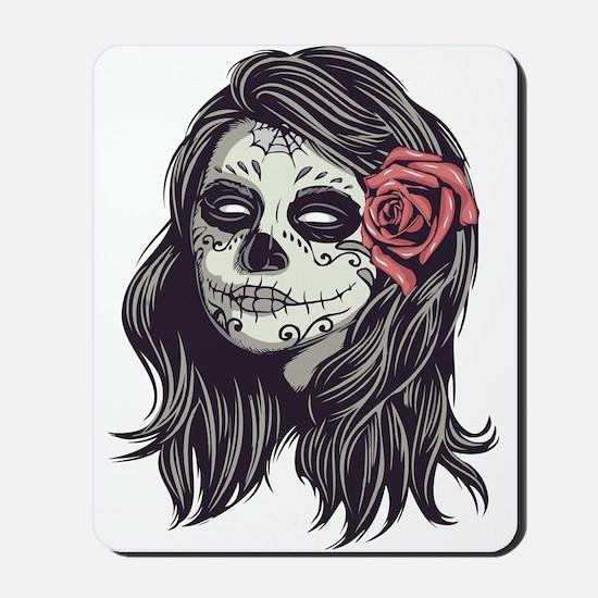 Sugar Skull Day Of Dead Girl Red Rose Mousepad