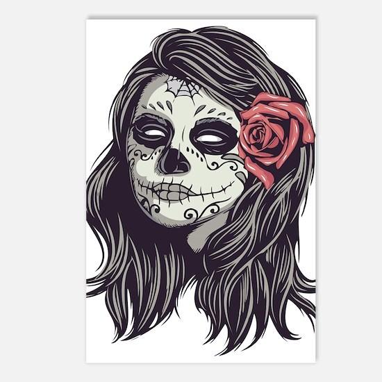 Sugar Skull Day Dead Girl Postcards (package Of 8)