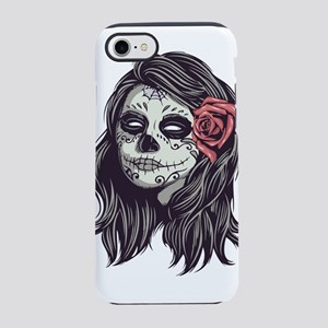 Sugar Skull Day of Dead Girl Red Rose iPhone 7 Tou