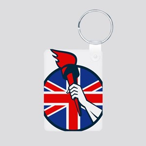 Hand Holding Flaming Torch British Flag Aluminum P