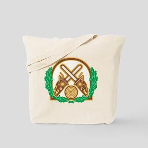 Crossed Chainsaw Timber Wood Leaf Tote Bag
