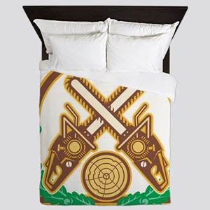 Crossed Chainsaw Timber Wood Leaf Queen Duvet