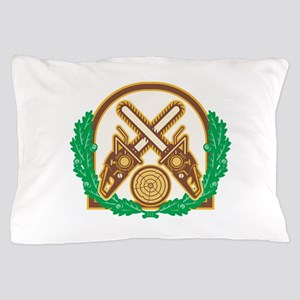 Crossed Chainsaw Timber Wood Leaf Pillow Case