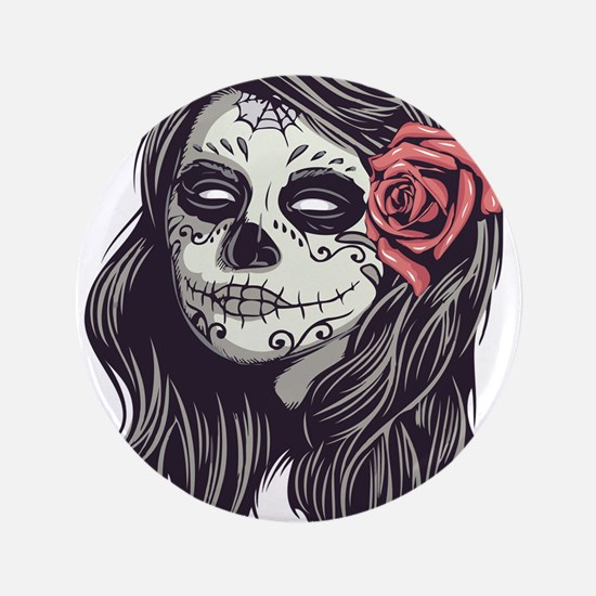 Sugar Skull Day of Dead Girl Red Rose Button