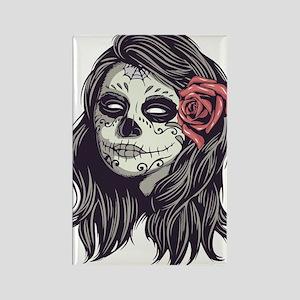Sugar Skull Day Of Dead Girl Red Rose Magnets
