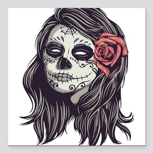 Sugar Skull Day of Dead Girl Red Rose Square Car M