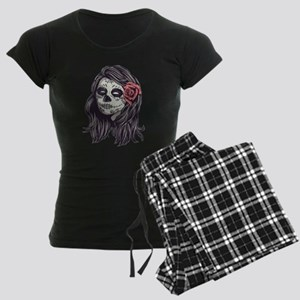 Sugar Skull Day of Dead Girl Red Rose Pajamas