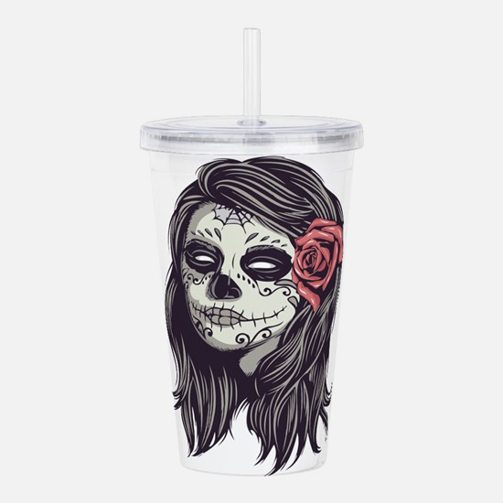 Sugar Skull Day of Dead Girl Red Rose Acrylic Doub