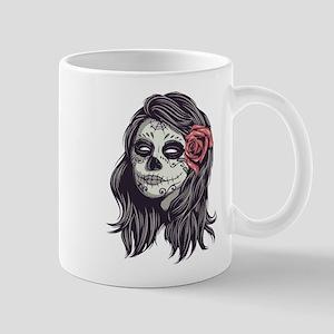 Sugar Skull Day of Dead Girl Red Rose Mugs