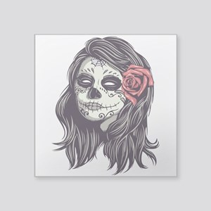 Sugar Skull Day Of Dead Girl Red Rose Sticker