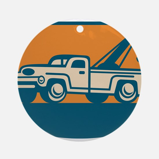 Vintage Tow Wrecker Pick-up Truck Ornament (Round)