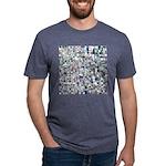 Geometric Grid of Colors Mens Tri-blend T-Shirt