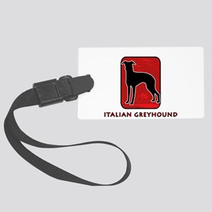 31-redsilhouette Large Luggage Tag