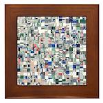 Geometric Grid of Colors Framed Tile