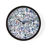 Geometric Grid of Colors Wall Clock