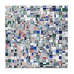 Geometric Grid of Colors Tile Coaster