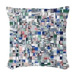 Geometric Grid of Colors Woven Throw Pillow