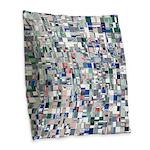 Geometric Grid of Colors Burlap Throw Pillow