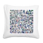Geometric Grid of Colors Square Canvas Pillow