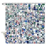 Geometric Grid of Colors Shower Curtain