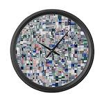 Geometric Grid of Colors Large Wall Clock