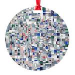 Geometric Grid of Colors Ornament