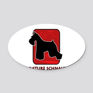 5-redsilhouette Oval Car Magnet