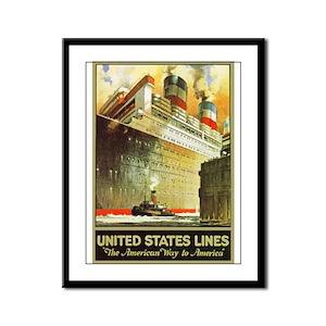 America Travel Poster 5 Framed Panel Print
