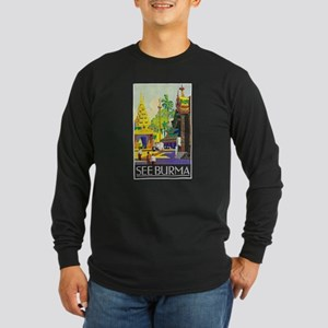 Burma Travel Poster 1 Long Sleeve Dark T-Shirt