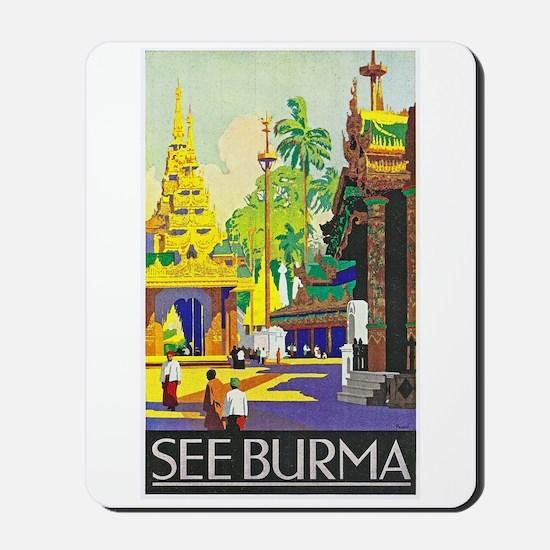 Burma Travel Poster 1 Mousepad