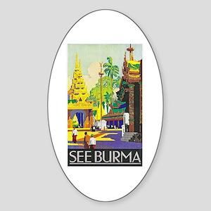 Burma Travel Poster 1 Sticker (Oval)