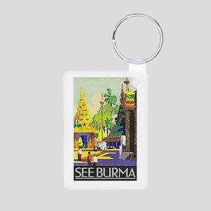 Burma Travel Poster 1 Aluminum Photo Keychain