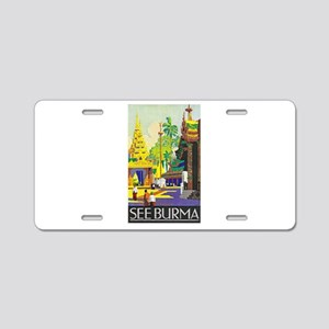 Burma Travel Poster 1 Aluminum License Plate