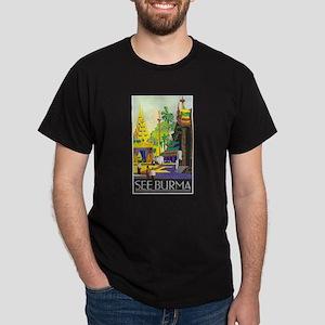 Burma Travel Poster 1 Dark T-Shirt
